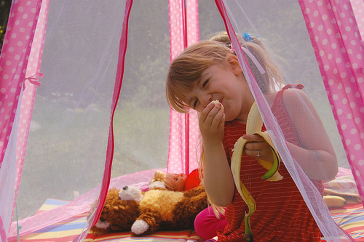A play tent is a perfect place to enjoy a snack or meal.