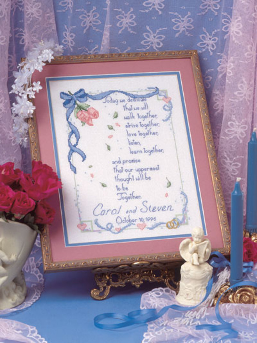 This is an example of a wedding sampler mad from a free pattern.