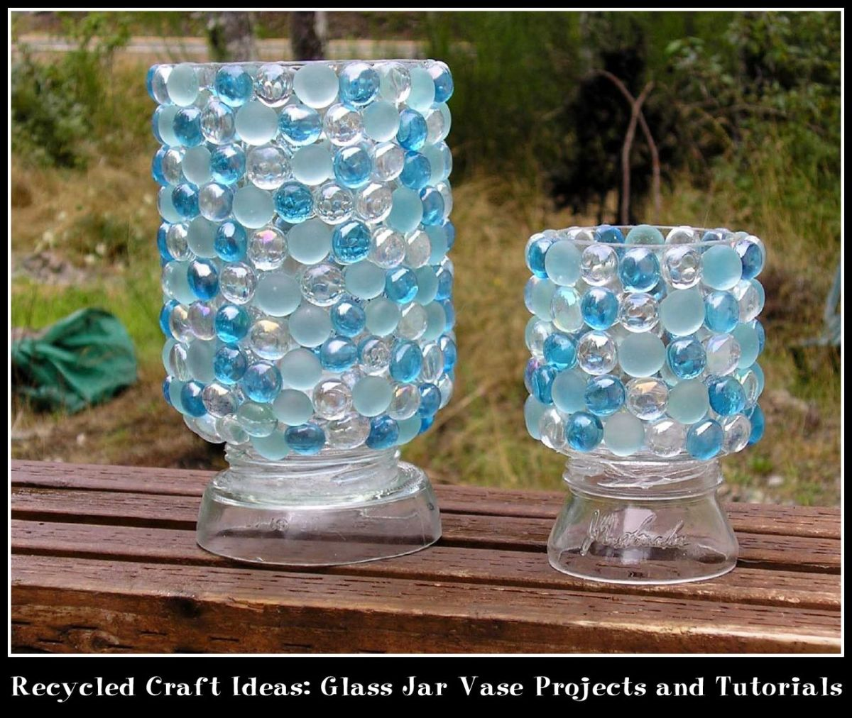 Recycled craft ideas glass jar vase projects and tutorials for Recycled glass art projects