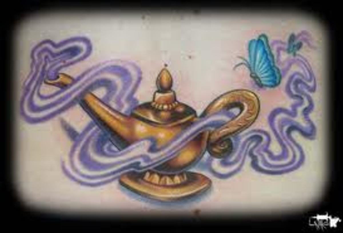 Genie Tattoos And Designs Genie Tattoo Meanings And Ideas Genie Lamp And  Latin Lamp Tattoos