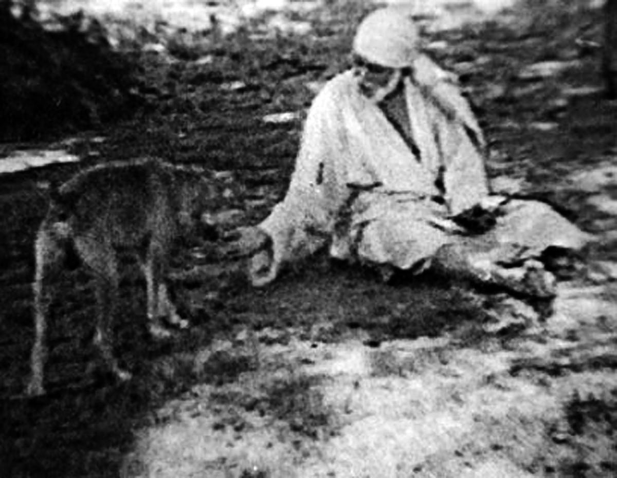 Una imagen rara de Shirdi Baba alimentar a un perro antes de participar su propia comida.