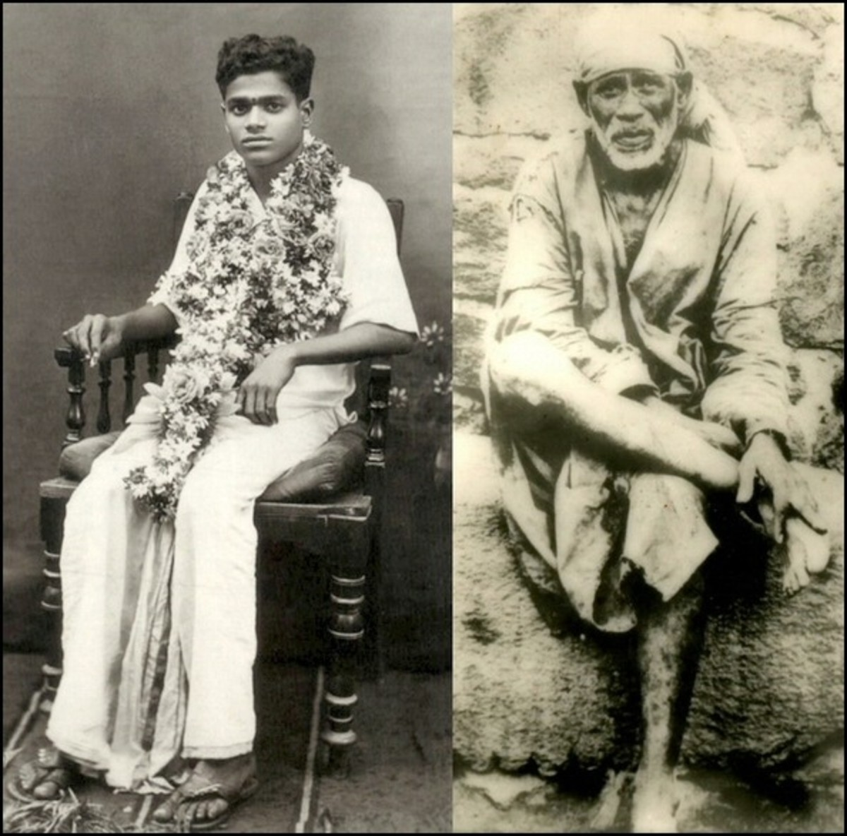 Sri Sathya Sai Baba (beginning days) and Sri Shirdi Sai Baba (final days) - many have experienced the unity of the two Babas.