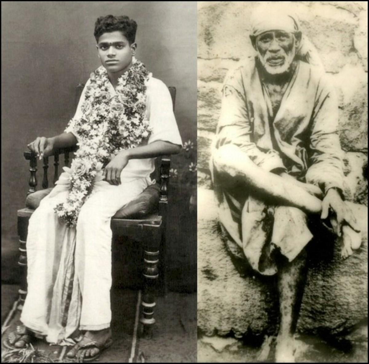 Sri Sathya Sai Baba (primeros días) y Sri Shirdi Sai Baba (últimos días) - muchos han experimentado la unidad de los dos Babas.