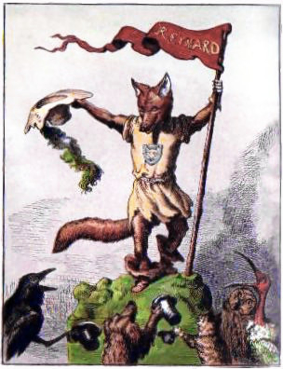 An illustration of Reynard the fox, a character from a children's book written in 1869.