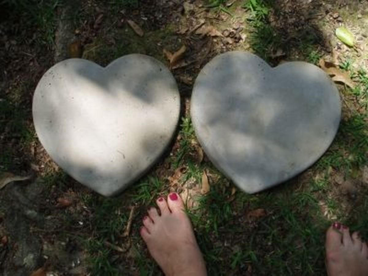 Heart Shaped Patio blocks for around the trees to hold mulch in place (Super Easy)