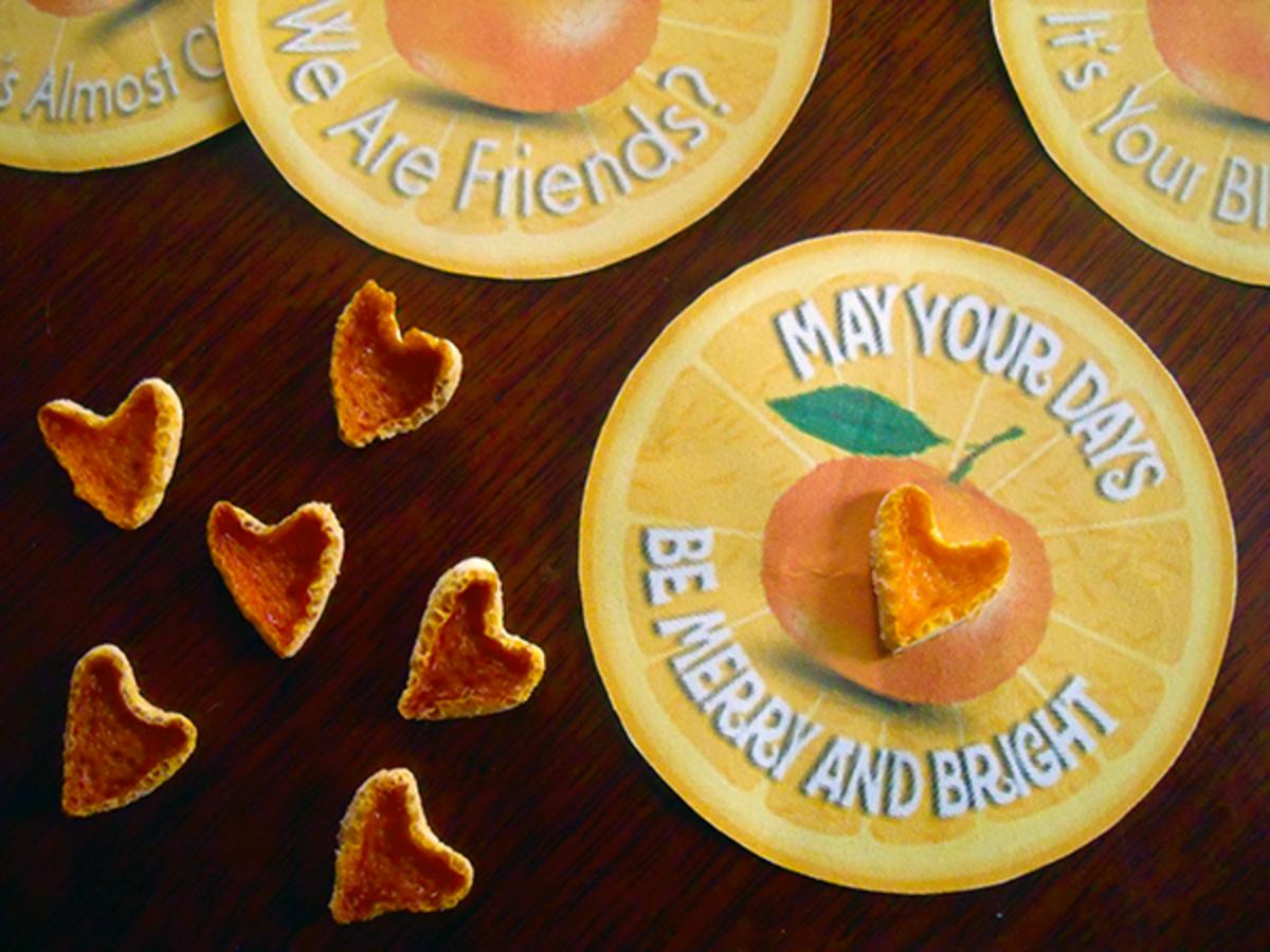 Heart Shaped Dried Orange Peel Gift Tags