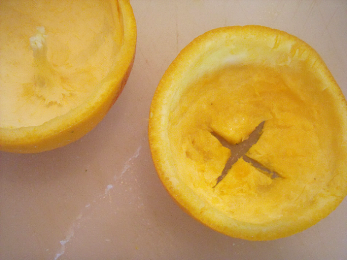 Make a lid out of the bottom half of the orange
