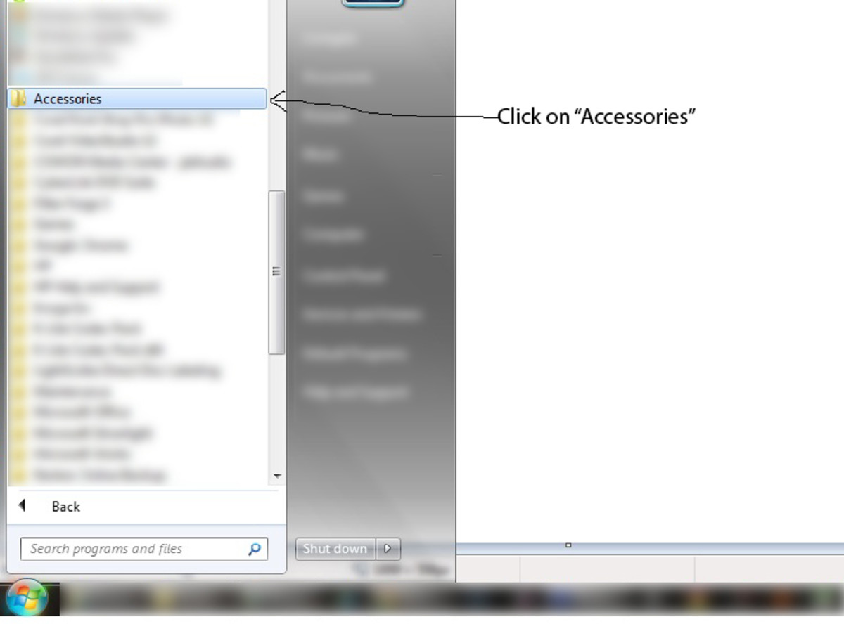 "Click on ""Accessories"""