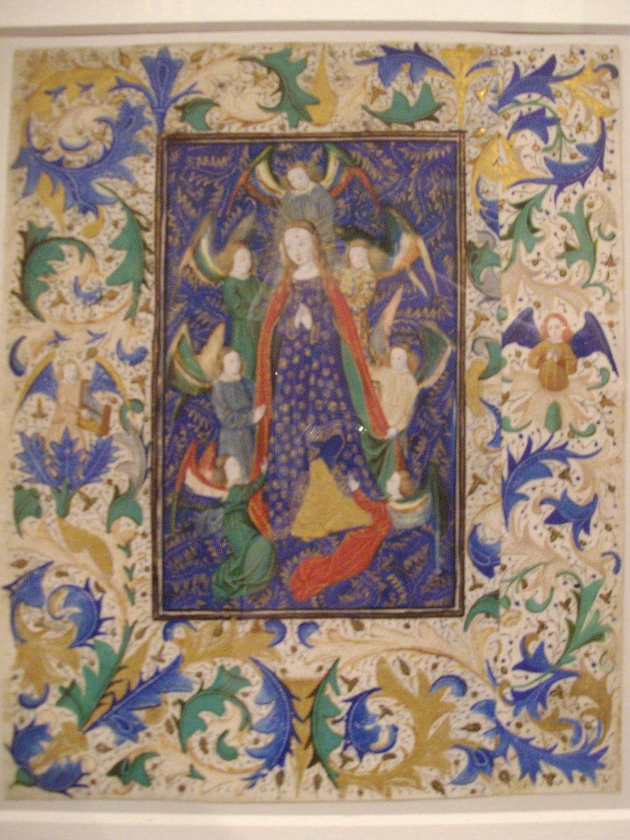Medieval illumination - Assumption of the Virgin Mary. 15th century