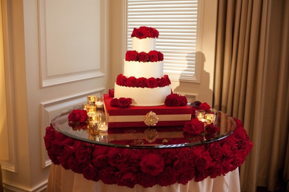 Flower Decorated Wedding Cake Table
