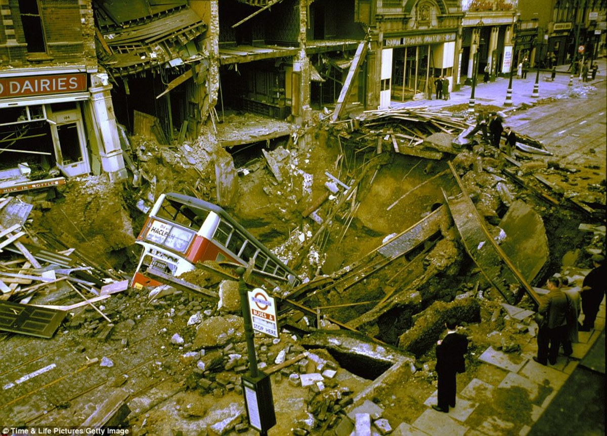 Tragic event at Balham Underground Station where a bus fell into a bomb crater breaking a water pipe