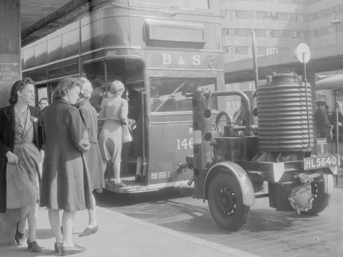 "With petrol and diesel scarce buses ran on hydrogen and a mix of other gases created by a coal burning generator towed behind. This was known as ""Producer Gas"""