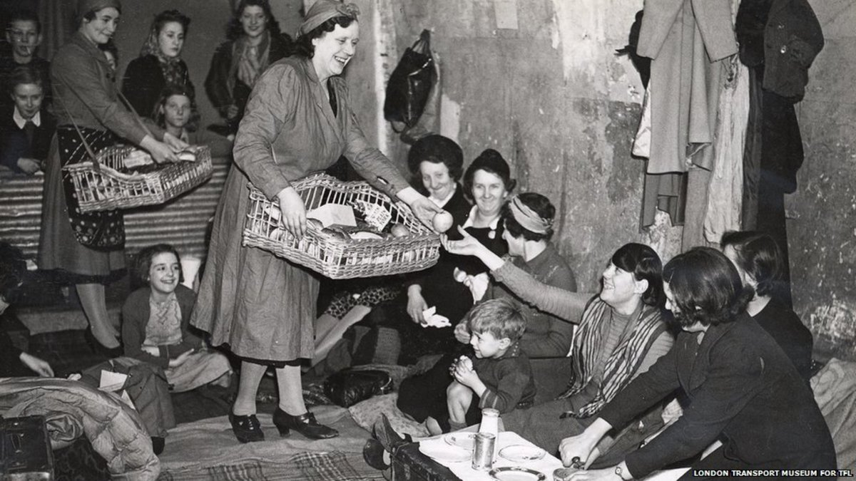 WVS serving food in an air raid shelter