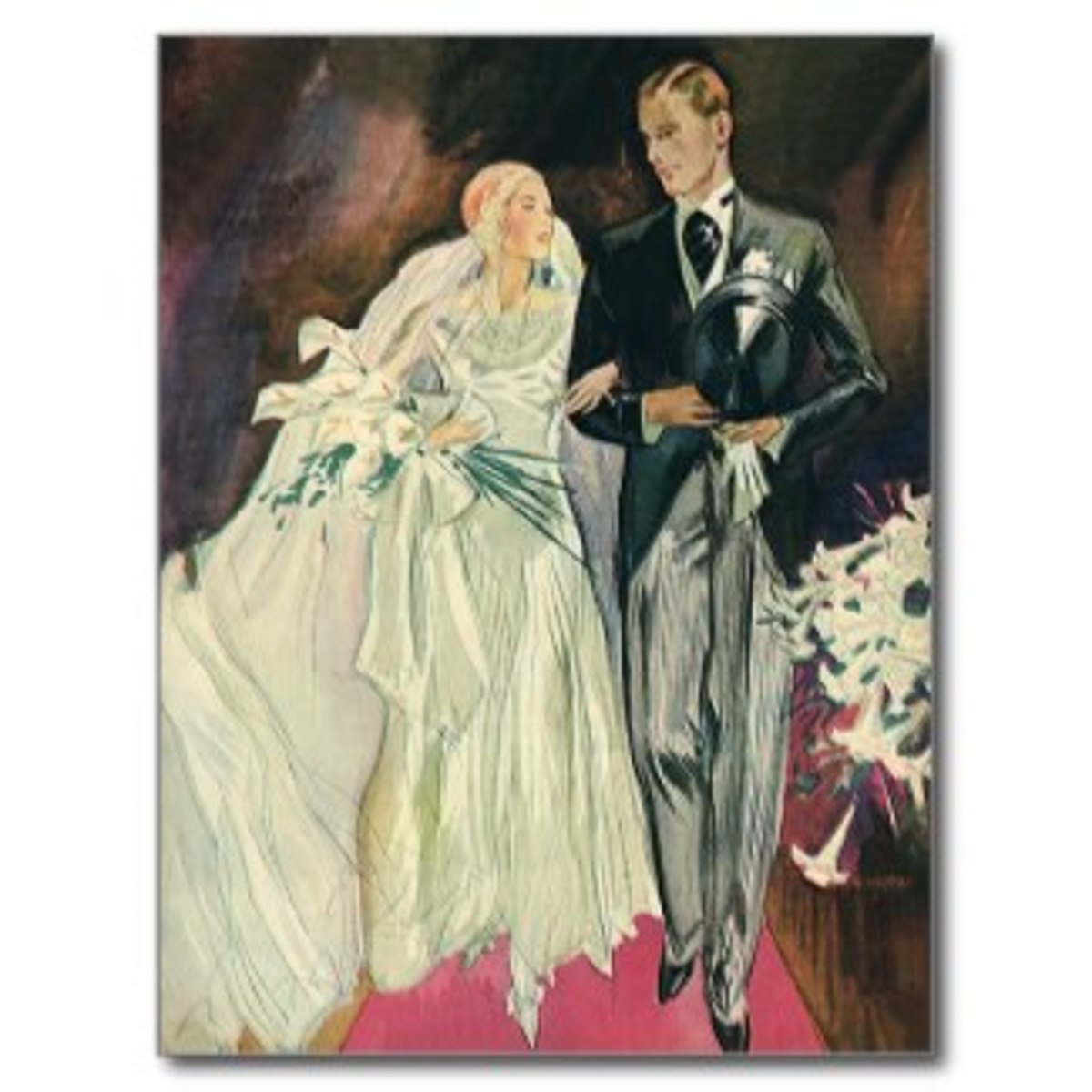Vintage Wedding, Bride and Groom, Newlyweds Postcard