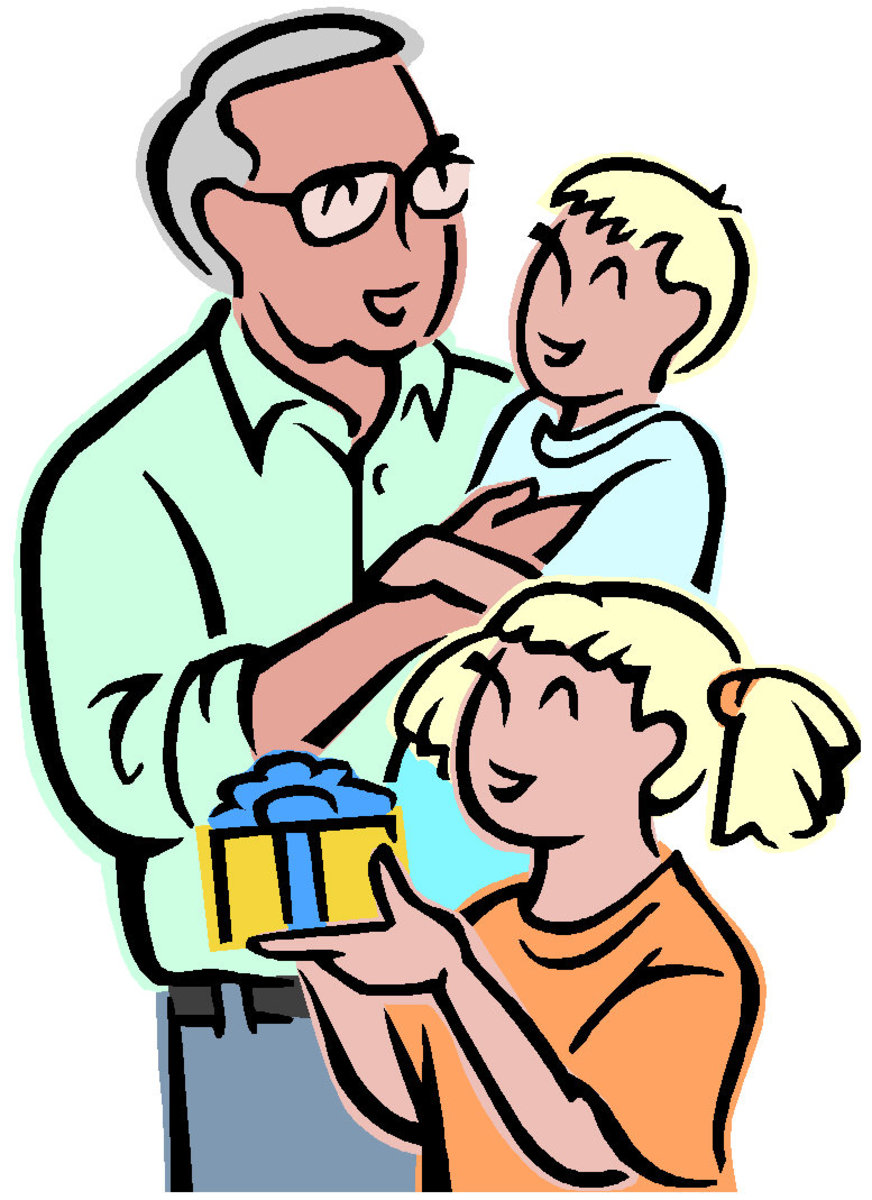 Image of Kids Giving Granddad a Father's Day Gift