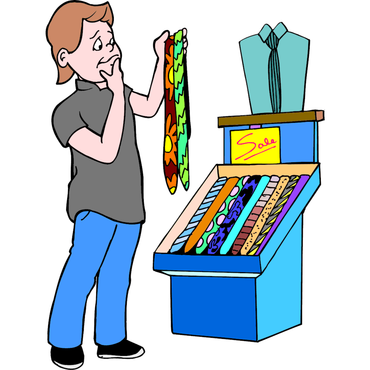 Choosing a Tie for Father's Day Clip Art