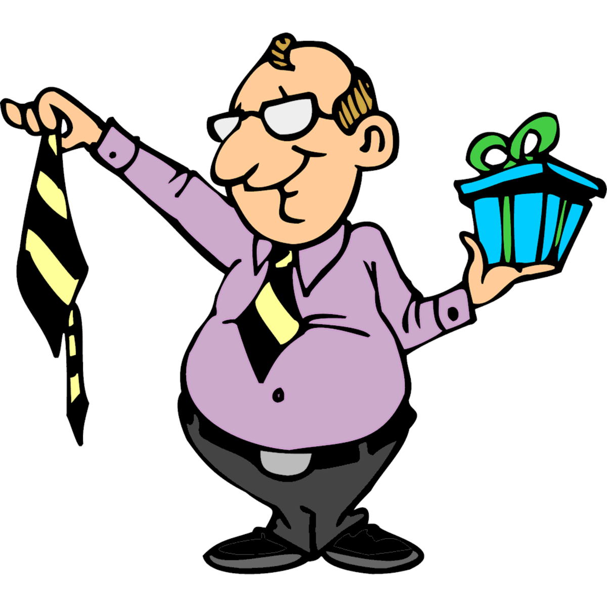 Cartoon Image of Dad Getting Tie for Father's Day
