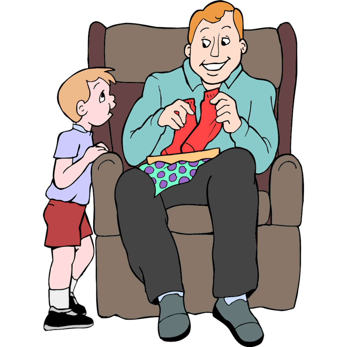 Father Opening Present from Son