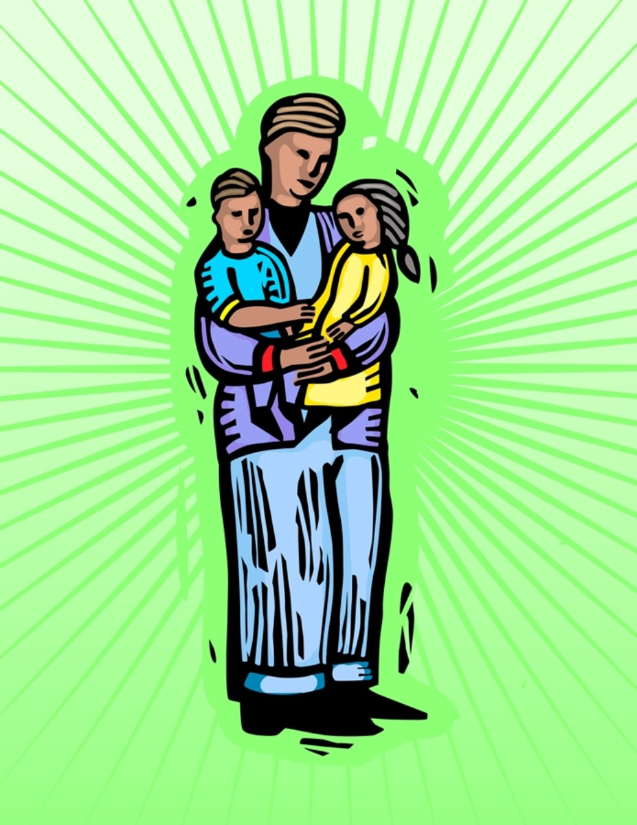 Image of Father Holding Children