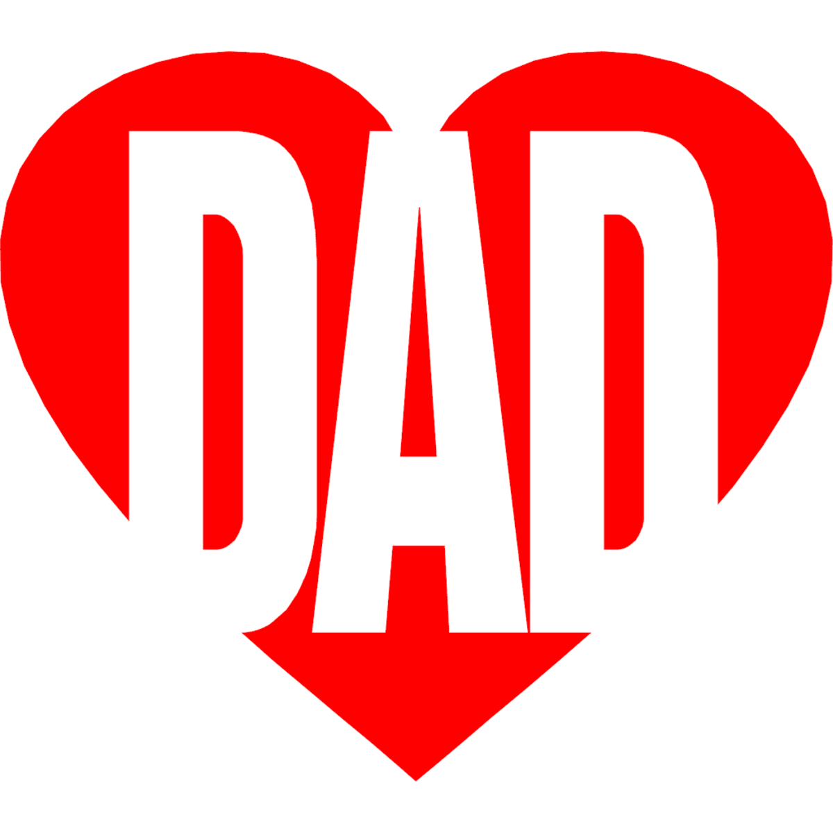 The Word 'Dad' inside Red Heart