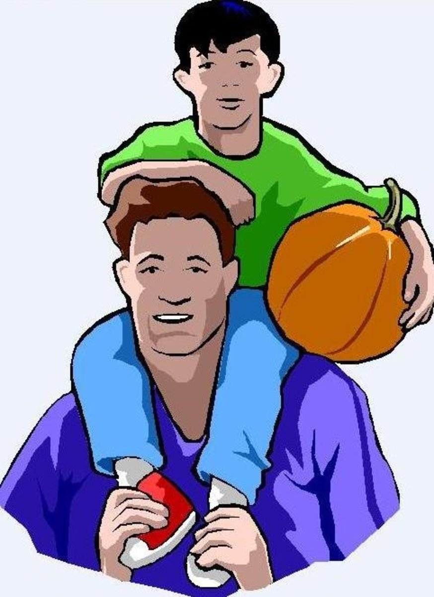 Picture of Father and Son with Basketball on Father's Day