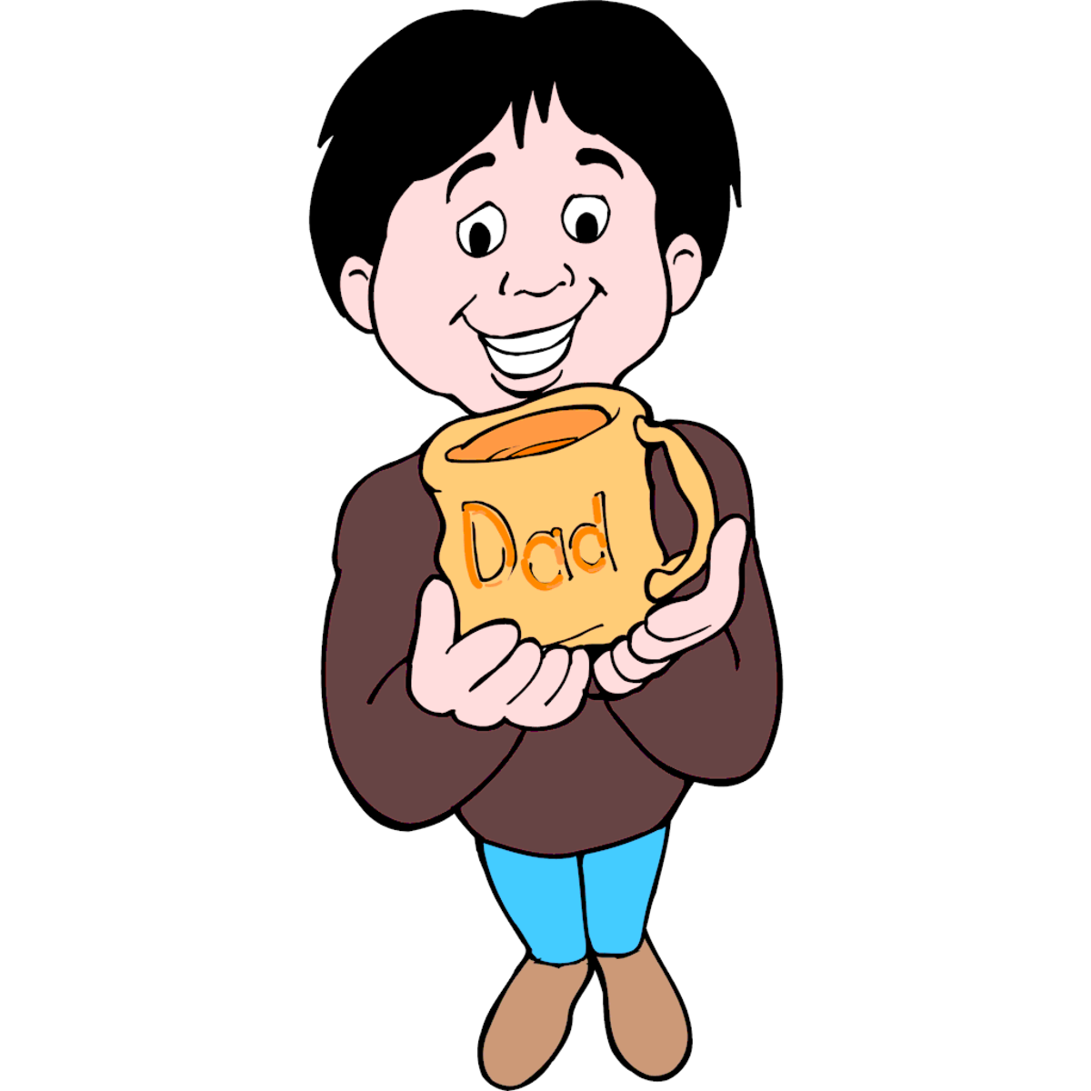 Kid Holding Father's Day Coffee Cup