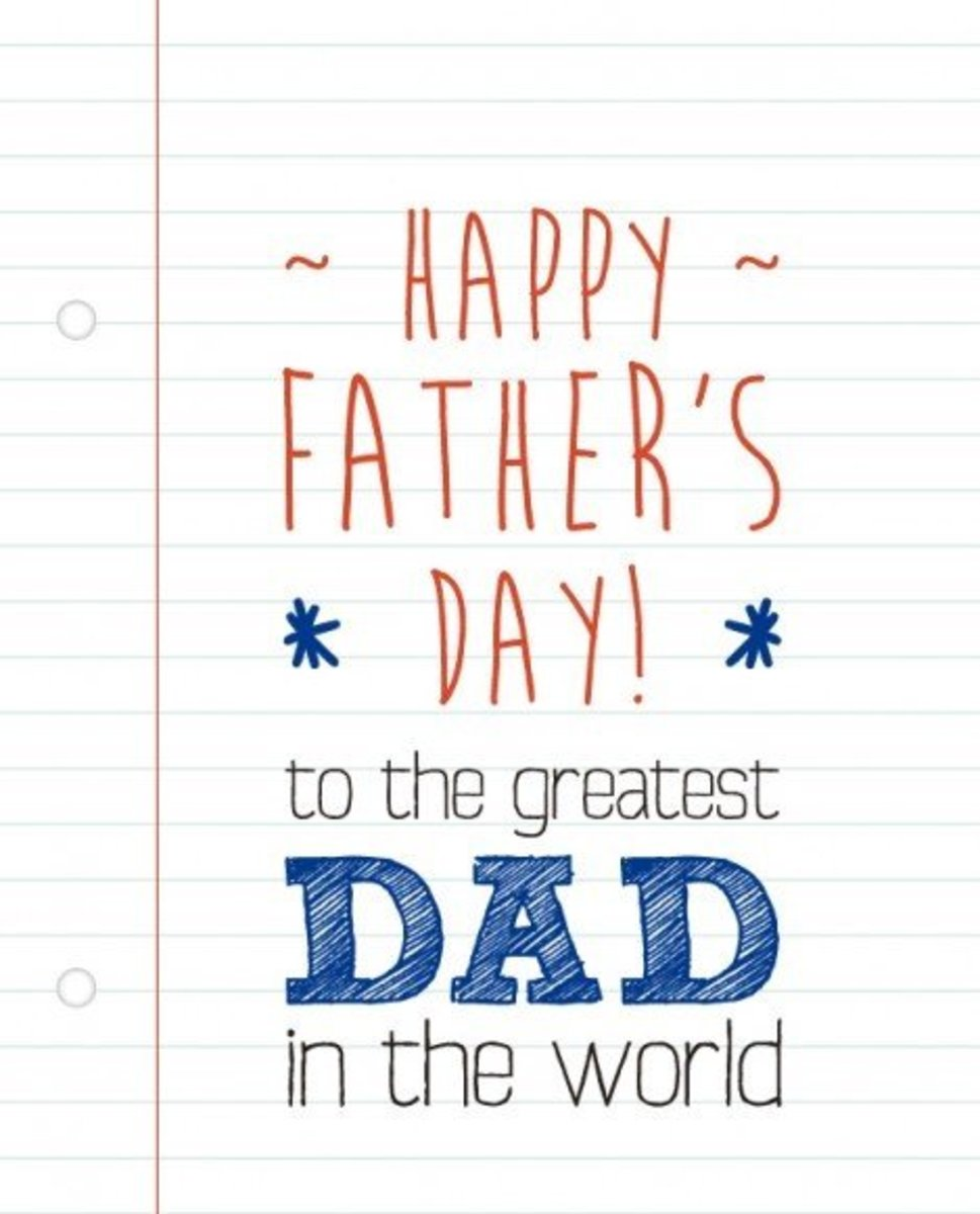 Graphic of Father's Day Message Written on Notebook Paper