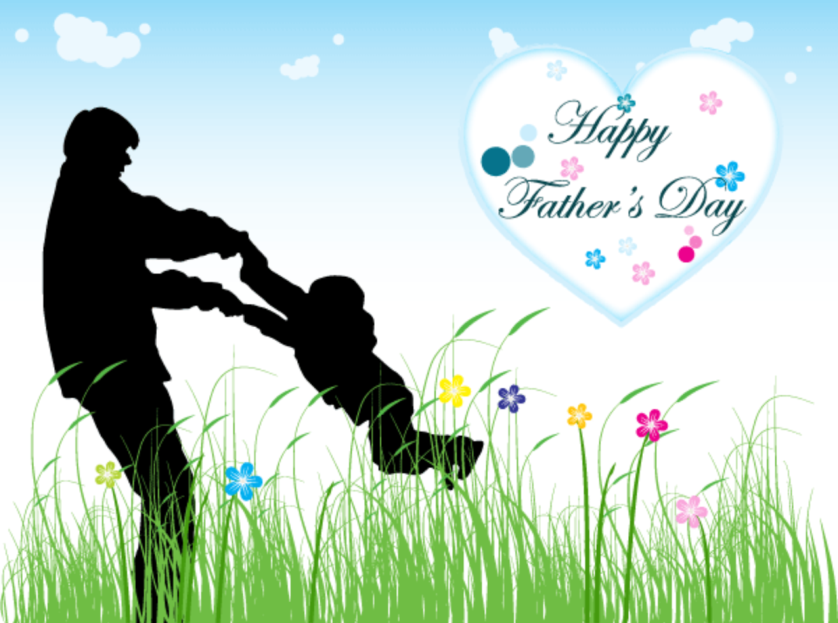 'Happy Father's Day' with Dad and Child Playing