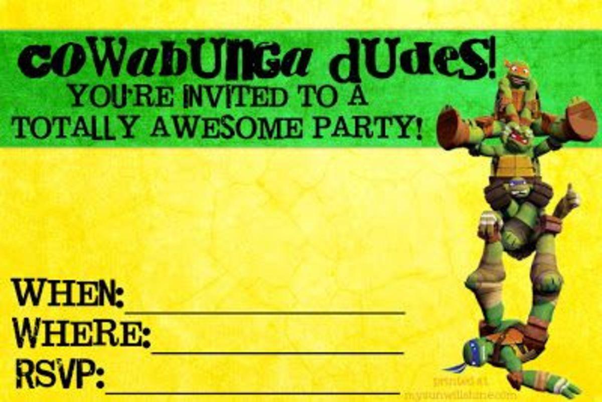 Free Teenage Mutant Ninja Turtles Party Invitations