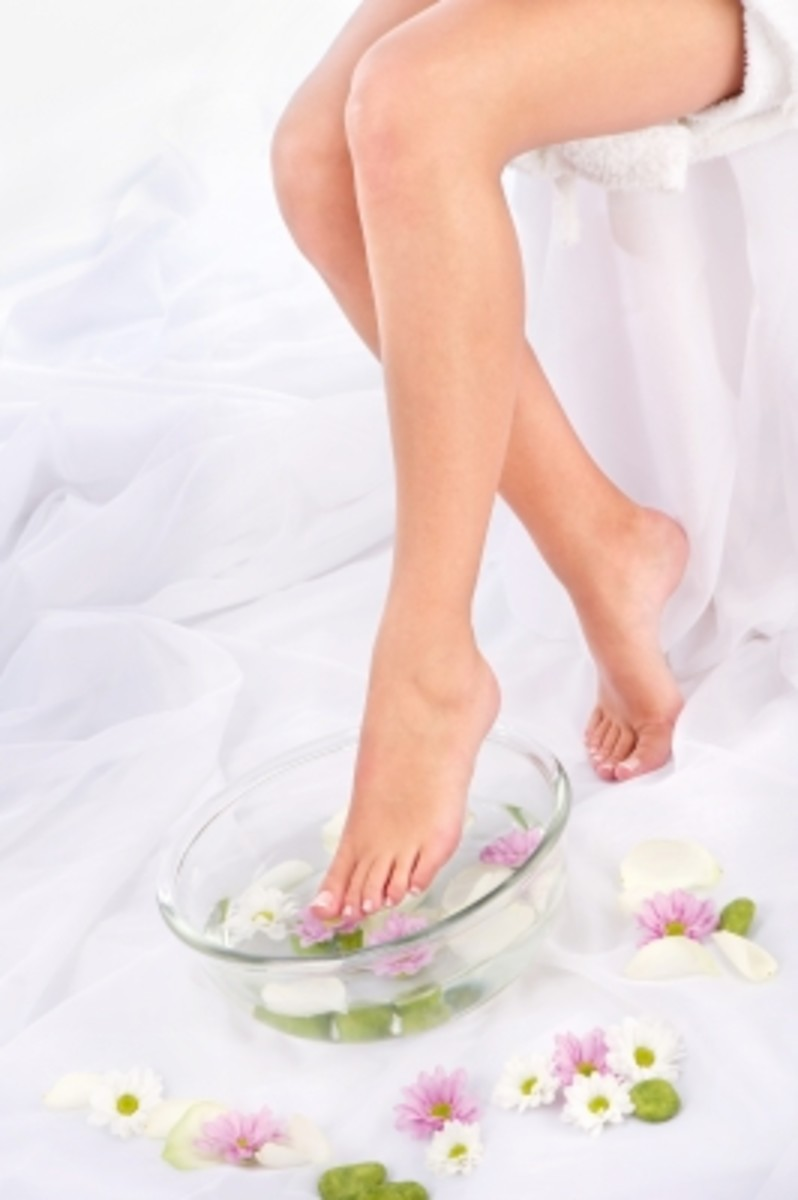 treat your tootsies to a foot scrub a good soak, a massage and a foot cream. All may be made at home and will rival those at the spa.