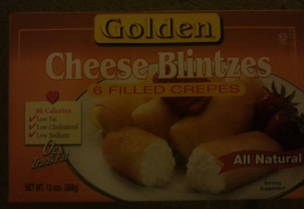 A box of ready made, frozen blintzes.