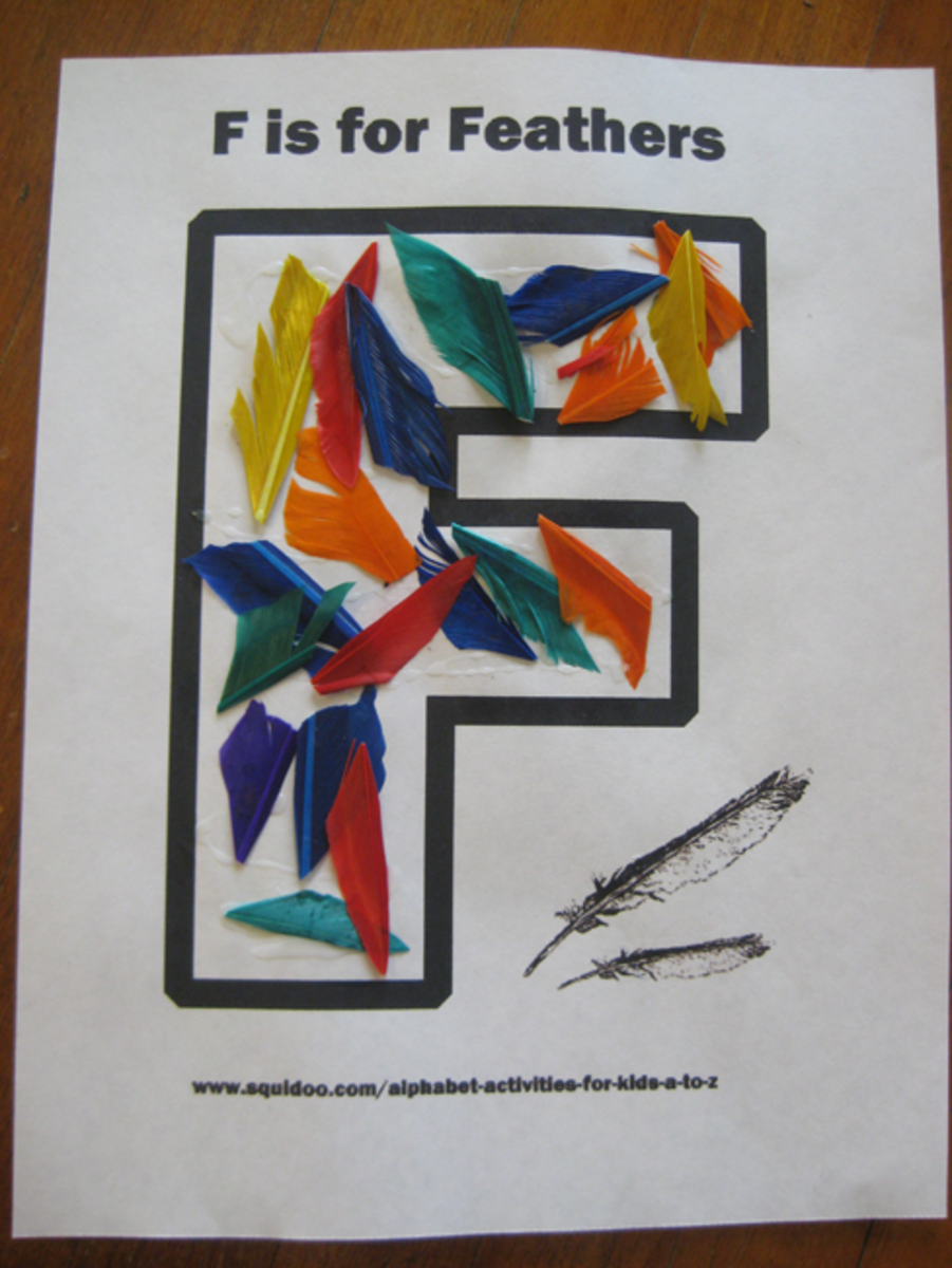 F is for feathers alphabet activities for kids