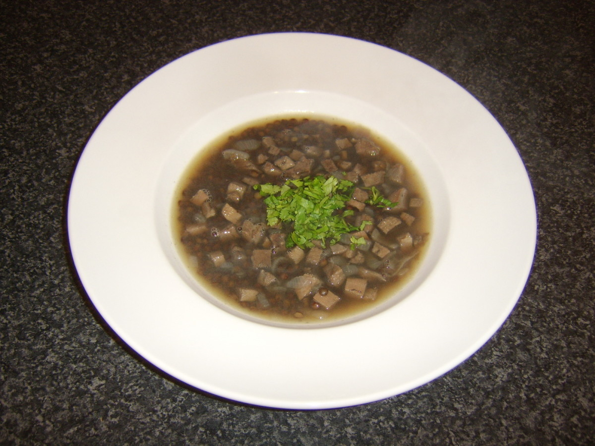 Beef tongue, green lentil and red onion soup