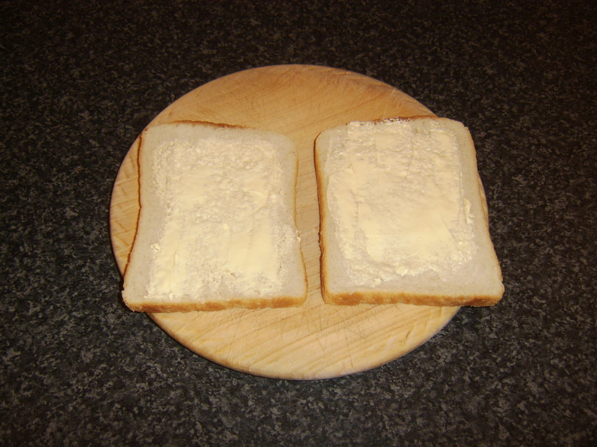 Bread slices are lightly buttered on one side only