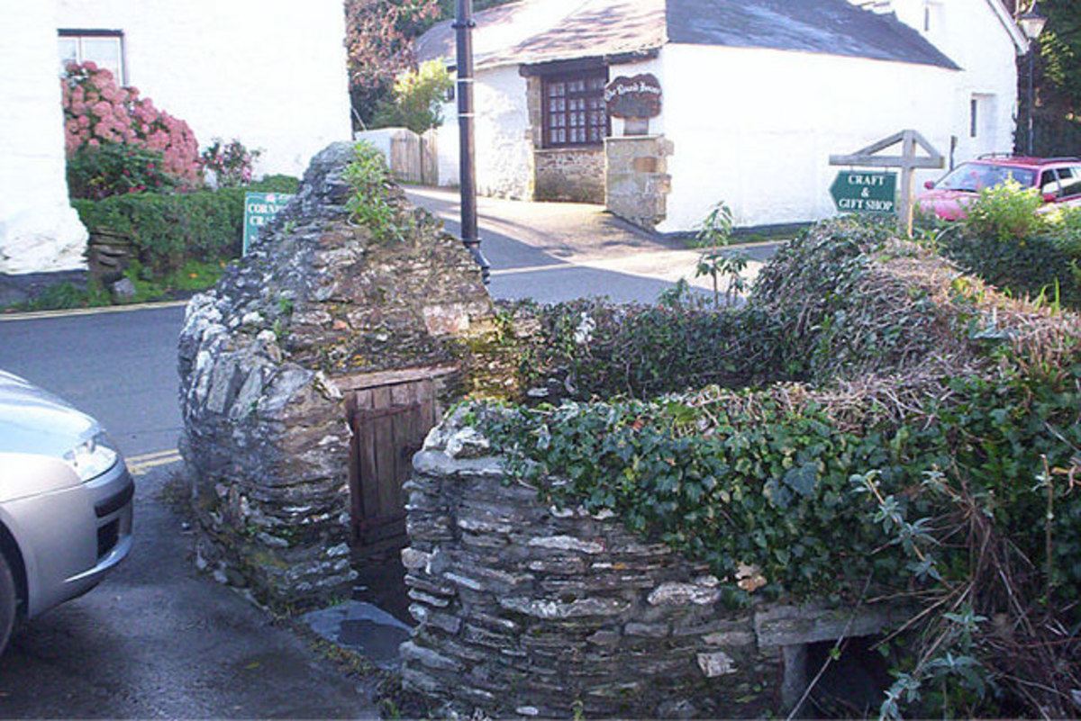 Crantock Holy Well, Newquay, Cornwall.  This ancient well is in the centre of Crantock village.
