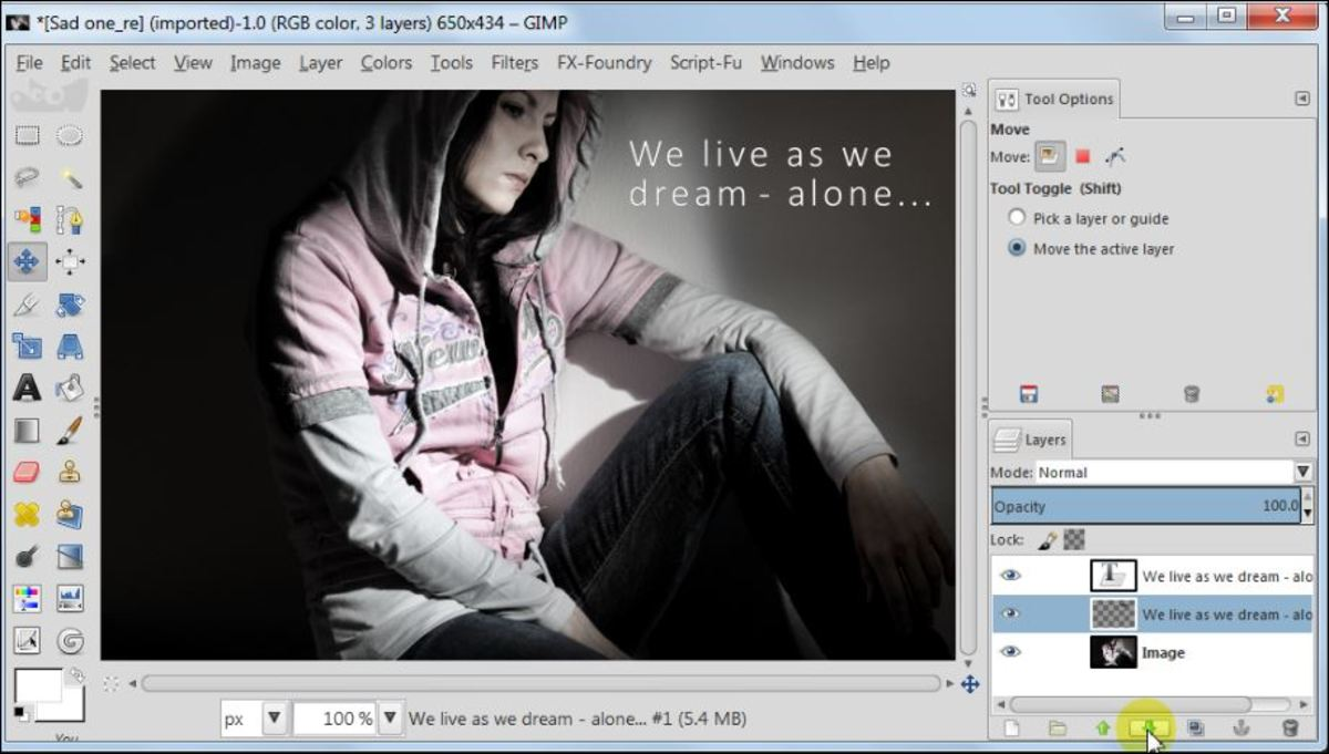 Fig. 6  Add a text to a photo in GIMP 2.8