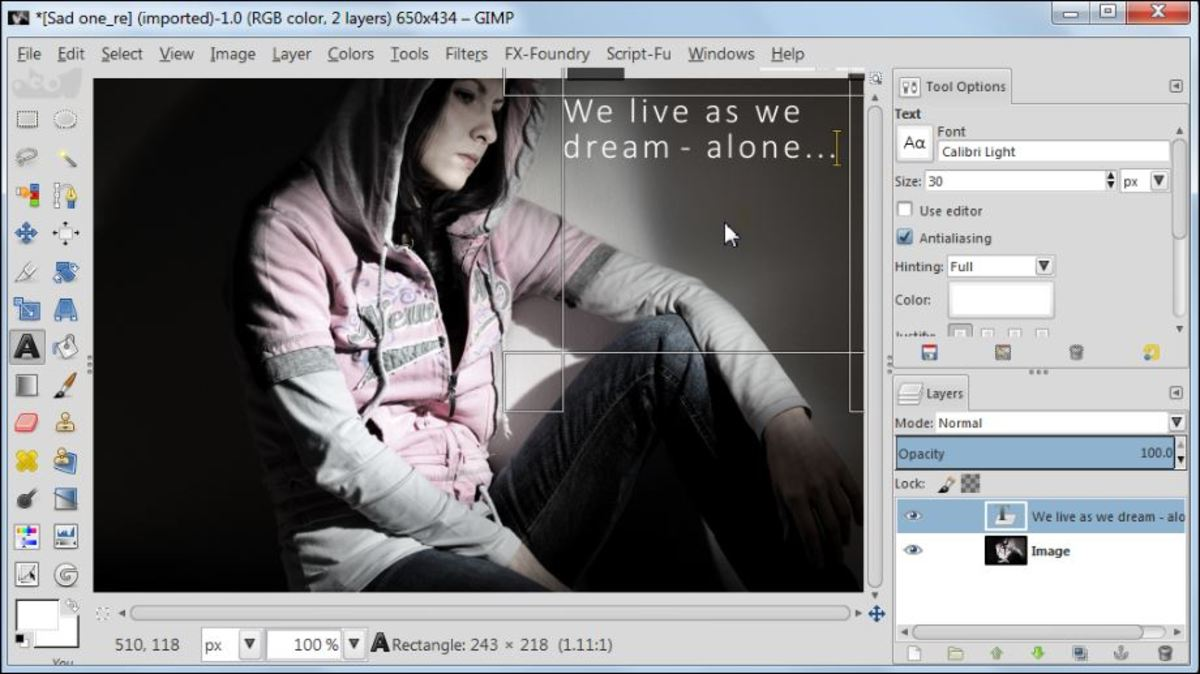 Fig. 2  Add a text to a photo in GIMP 2.8