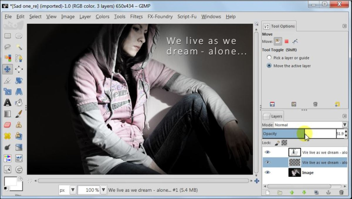 Fig. 7  Add a text to a photo in GIMP 2.8