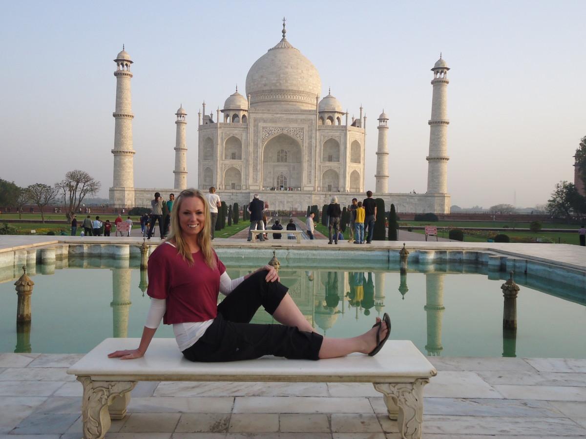 Posing like Princess Diana at the Taj Mahal