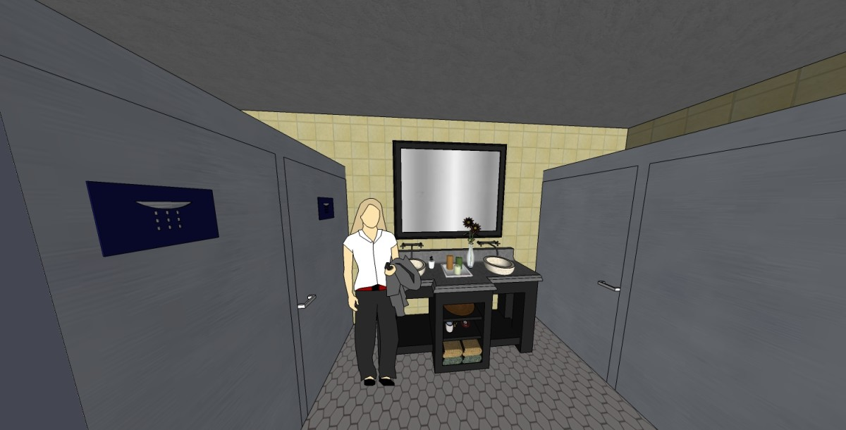 The bathroom is designed as a shared space, but they are plentiful enough for waiting to not be a problem.