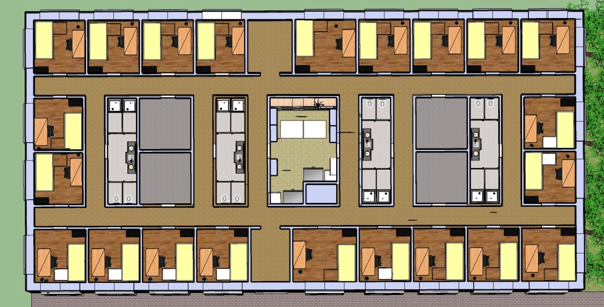 A colored-in floor plan of the SRO hotel. The design is meant to offer equitable access to the kitchen, restroom facilities, and public rooms. The unique design offers an efficient use of space as well as maximum privacy.