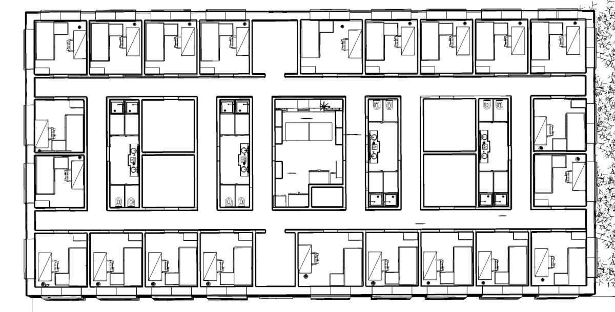 Top floor plan view. Hall ways are 3 1/2' and wide enough to allow two people to walk by each other. The layout, with a communal kitchen in the middle, washrooms and multi-purpose rooms on either side centered as well, allows equitable access to comm