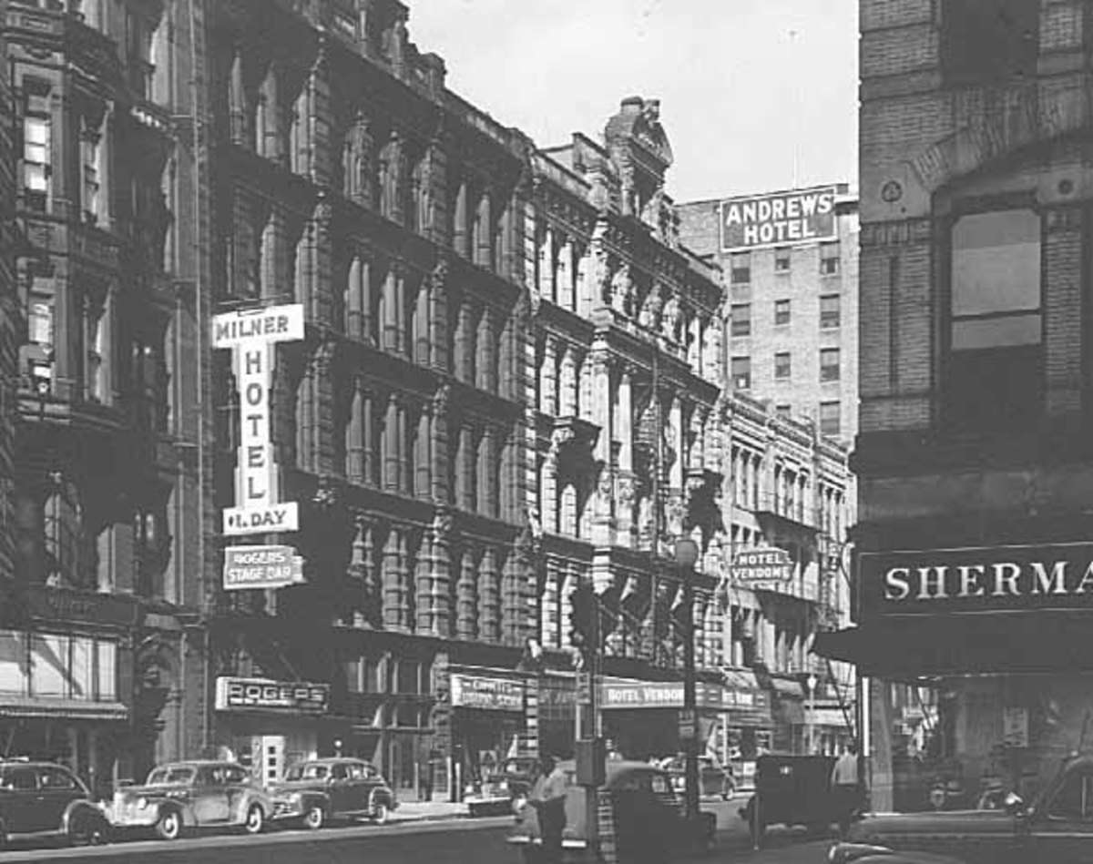 An example of an old Minneapolis street with SRO hotels, which was destroyed during the urban renewal of the 1960s.
