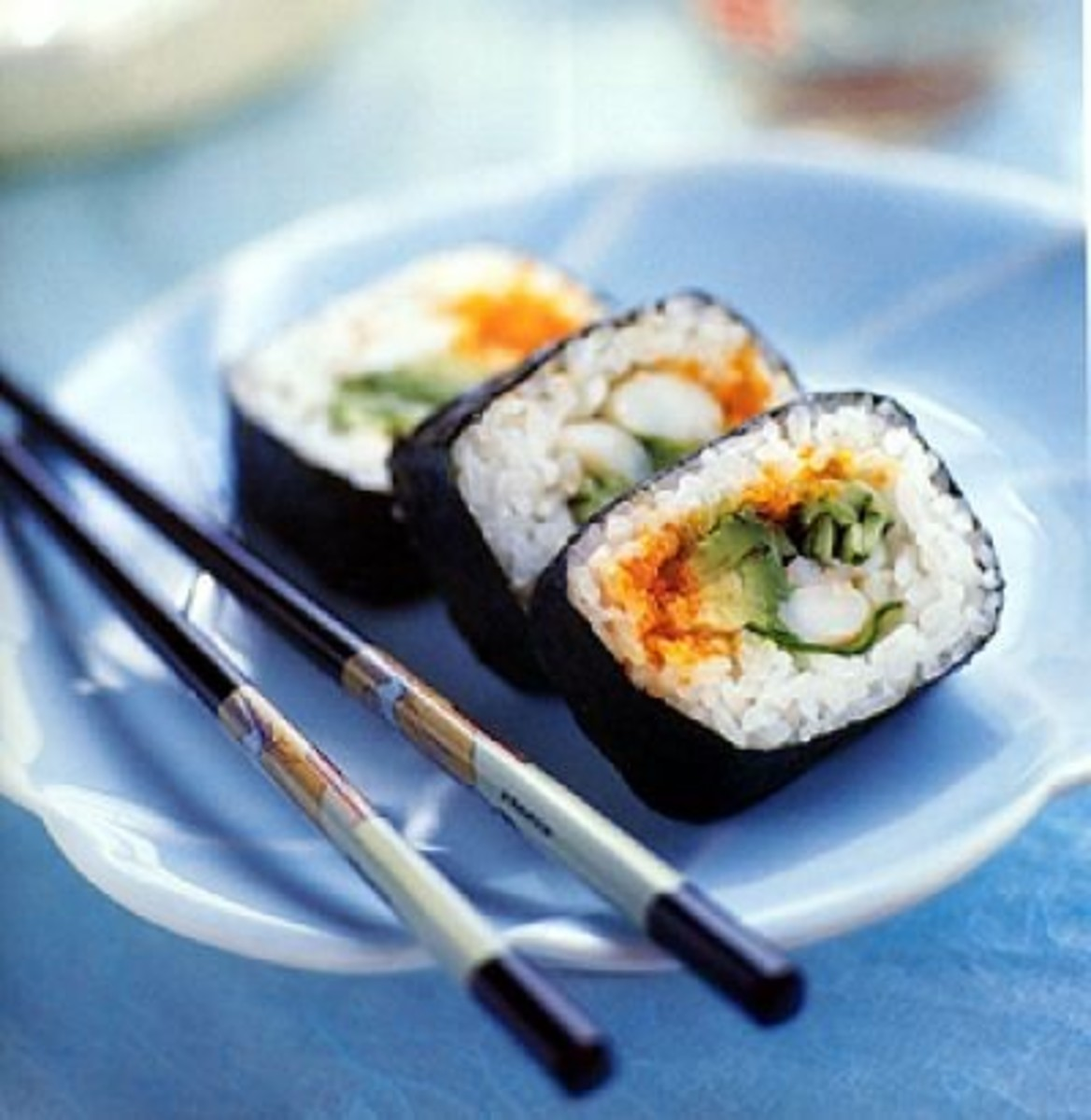 Delicious sushi made with nori seaweed
