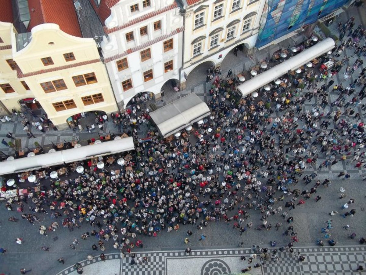 A view from the top of the famous clock tower. Crowds gather to watch the saints make their appearance on the hour