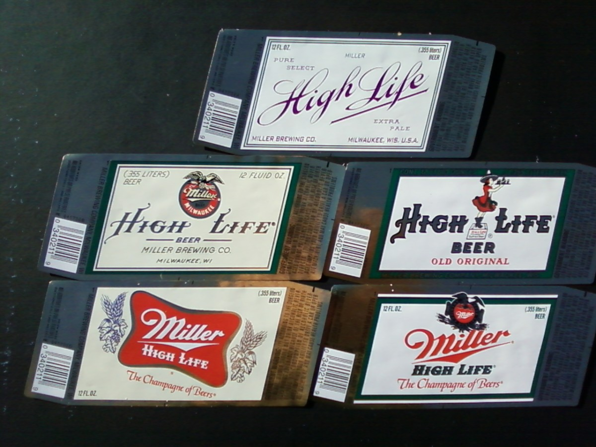 Miller High Life label years from top to bottom and left to right were 1903, 1918,1952, 1971, and 1985.