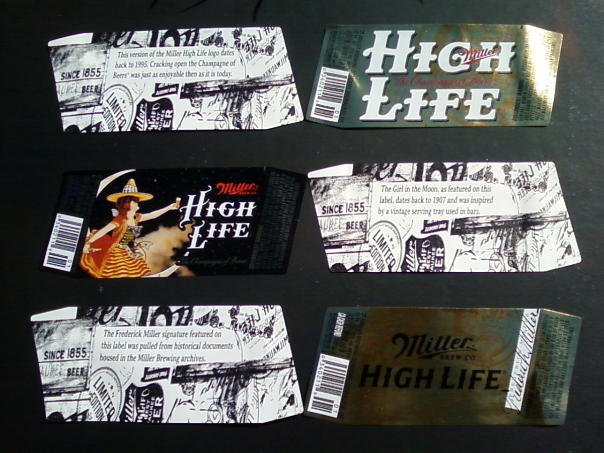 2014 Miller High Life labels dating from 1903 through 1995.