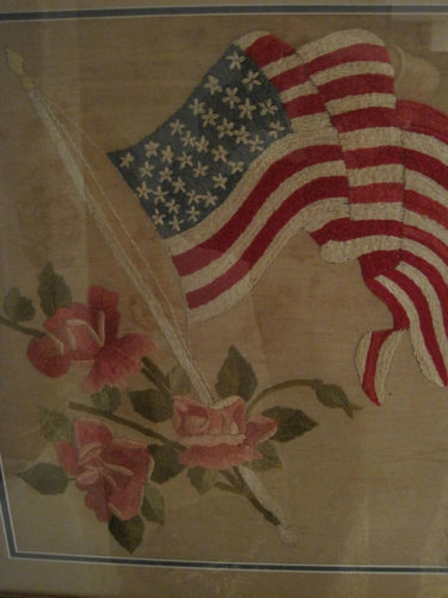 embroidered American flag with pink roses