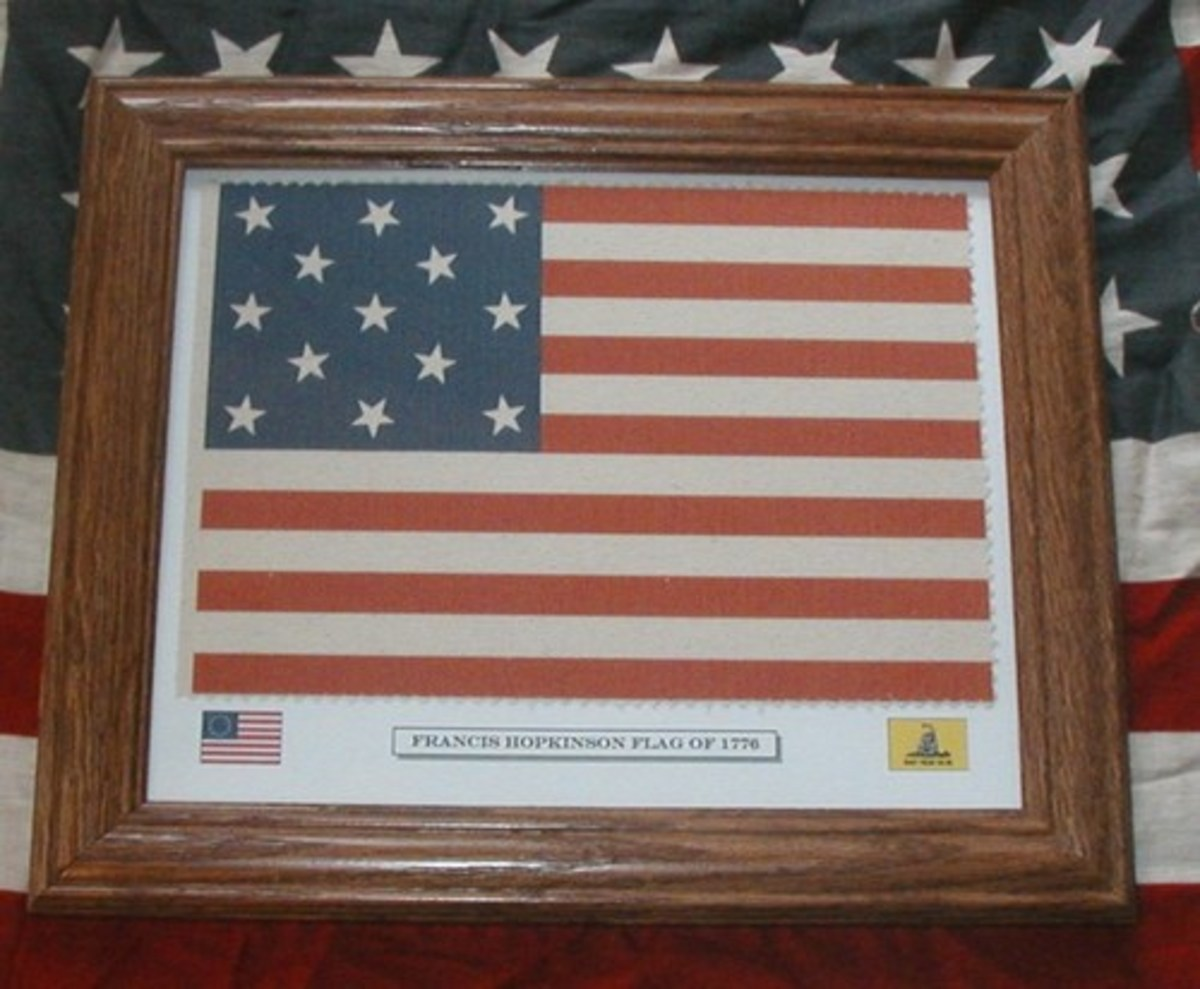 Click to view larger image Have one to sell? Sell it yourself Framed Revolutionary War Flag, 13 Star American Flag, Francis Hopkinson Flag