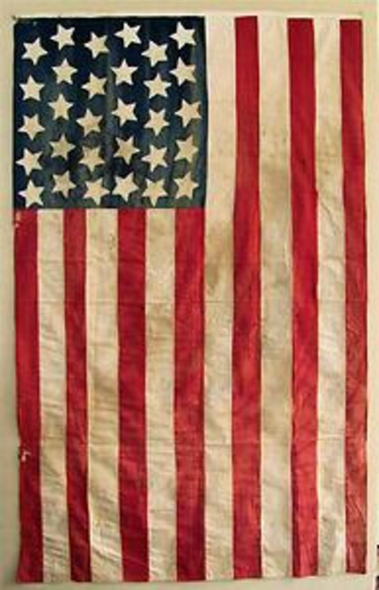 30 hand stiched stars on American Flag for sale on eBay for in excess of $4500